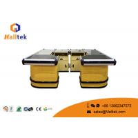 Quality High Grade Wood Supermarket Checkout Counter Multifunctional With Conveyor Belt for sale