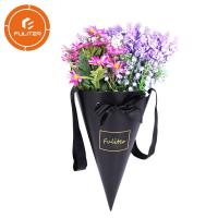 Quality Custom Paper Cone Florist Packaging Carton Boxes For Flowers With Handle for sale