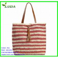 Quality Stripe Color Paper String Lady Handbags for sale