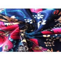 Quality Flower Printed Elastic Spandex Velvet Fabric , Korea Velvet For Garment for sale