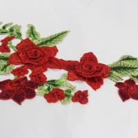Quality 34*18 CM Red Flower Embroidered Applique Patches For DIY Dress Decorative for sale