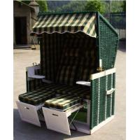 Quality Double Seat Roofed Wicker Beach Chair For Outdoor Garden Leisure for sale