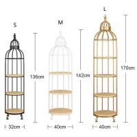 Quality Interior Decoration Metal Display Racks And Stands Creative Bird Cage Shape Flower Shelf for sale