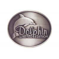 Quality Customized Antique Silver Plating Curved Dolphin Badge, Pewter Souvenir Badges for Mug for sale