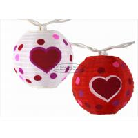 Quality 3 Inch Heart Paper Lantern Wedding Decor Battery Operated Outdoor String Lights for sale