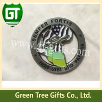 Buy 4mm thickness Cut out effect map shape challenge coin with soft enamel style at wholesale prices