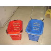 Quality Folding Virgin Plastic Rolling Hand Basket With Wheels / Recycle Shopping Basket for sale