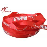 Quality 2.5cm red custom logo printed satin ribbon for packing decoration for sale