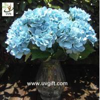 China UVG Blue 7 heads artificial cheap hydrangea fabric flowers wedding decoration centerpieces on sale