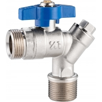 Quality 5102B Gas Stove Valve Brass Ball Valve Angle Type DN20 for Water Return Pipeline of Heating System w/ Built-in Strainer for sale