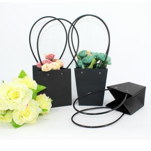 Waterproof Flower Packaging Carry Kraft Paper Bag With Plastic Handle