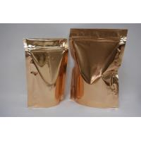 Quality Golden sel-standing coffee bag with zipper for sale