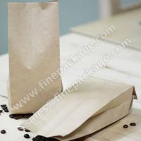 China craft paper side gusset coffee bean packaging bags with valve on sale
