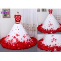Quality Vintage Two Pieces Ball Gown Prom Dresses Applique Flowers Evening Dress for sale