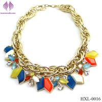 Quality fashion rainbow bead necklace exaggerated geometric water drops necklace for sale