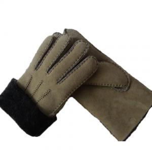 Quality Spanish Merino Sheepskin Double Face Leather Winter Gloves Hand Sewn Men Gloves for sale