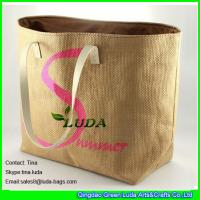 China LUDA logo printed straw bech bags cheap paper straw oversized beach bags on sale