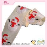 "Quality 1"" White Grosgrain Ribbon / White Snowman Polyester Grosgrain Ribbon For Holiday for sale"