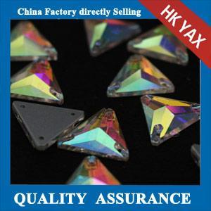 Quality China Wholesale sew on rhinestone Triangle sew-on rhine stones,Crystal AB flatback rhinestone for sale