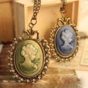 Quality Cameo Jewelry Necklace, Lady