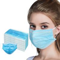 Quality Blue 3 Ply Disposable Face Mask / Disposable Mouth Mask With Earloop for sale