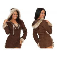 Quality Faux Suede Party Adult Costumes , Sexy Women Daring Eskimo Adult Halloween Costumes for sale