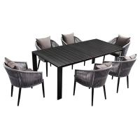 China Rope And Aluminum Outdoor 6 Seater Garden Table And Chairs on sale