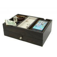 Wood Desk Supply Organizer, Multi Device Charging Station And Cord Organizer