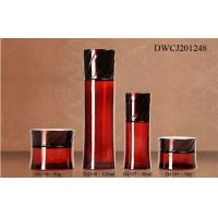 Quality Red Empty Cream Glass Bottles And Jars 120ml With Plastic Caps DWCJ201248 for sale