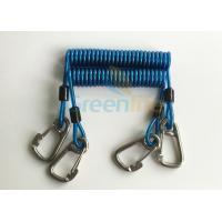 Quality Security 316# Carabiner Snap Hook Blue Spring Elastic Plastic Coiled Tethers for sale