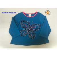 Quality Butterfly Applique Toddler Long Sleeve T Shirts , 100% Cotton Baby Tee Shirts for sale
