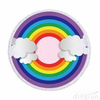 China Soft and Quick Dry Rainbow Printed Round Beach Towel Multi Functional Pool Mat on sale