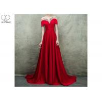 China Short Sleeve Long Tail Gown / Red Satin Evening Gown Bust Back Beaded For Women on sale
