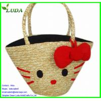 Quality LUDA Smile Wheat Straw Bag w/a red flower for sale