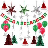 Quality Paper Honeycomb Party Decorations Merry Christmas tree hat star balloon Bunting Banner Flag for sale