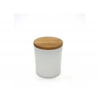 China Wedding Dia 7.3cm Frosted Glass Candle Jar With Wooden Lid on sale