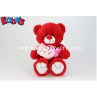 China Personalized Gifts Red Lovely Teddy Bears With 3 Hearts for Valentines Day on sale