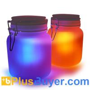 Quality Moon Jar - Solar Power LED Mood Light (Amber/Blue, Waterproof) for sale