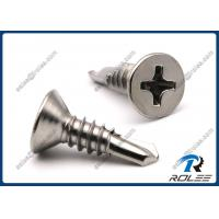 Quality 410 Stainless Steel Philips Flat Head Self Drilling Sheet Metal Screws, Passivated for sale