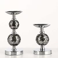 European style black metal candelabra with glass cup