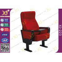 Quality Stain Proof Full Upholstered Red Velvet Fabric Chairs For Stadium / Lecture Room for sale