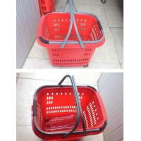Quality Duralumin Pull Rod Virgin Plastic Rolling Trolley Shopping Basket With Wheels For Shopping Malls for sale
