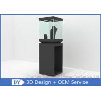 Quality Modern Black Wooden Glass Jewelry Tower Display Cases For Window Display for sale