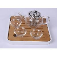 Quality Portable Travel Glass Tea Set 4 Cups With Bamboo Plate , FDA SGS Listed for sale
