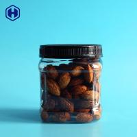 Quality Empty Clear Square Wide Mouth Plastic Jars  Dried Nuts Packaging for sale
