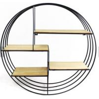 China Retro Round Wooden Shelf Metal Wall Hanging Shelf metal display showcase hanging modern home wall decoration on sale