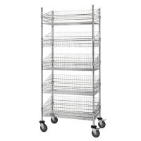 Quality Grocery Storage Mobile Chrome Wire Grid Baskets Shelving Five Layers Silver Color for sale