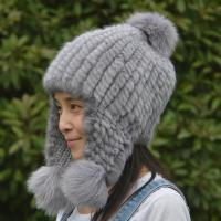 Quality Fashion Gorgeous Winter Shearling Trapper Hat Knitted With Ear Flaps for sale