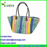 Quality Multicolor Corn husk Straw Shoulder Bags with PU handle for sale