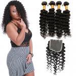 Quality Natural Black Virgin Brazilian Hair Extensions , 4 Bundles Of Brazilian Hair for sale